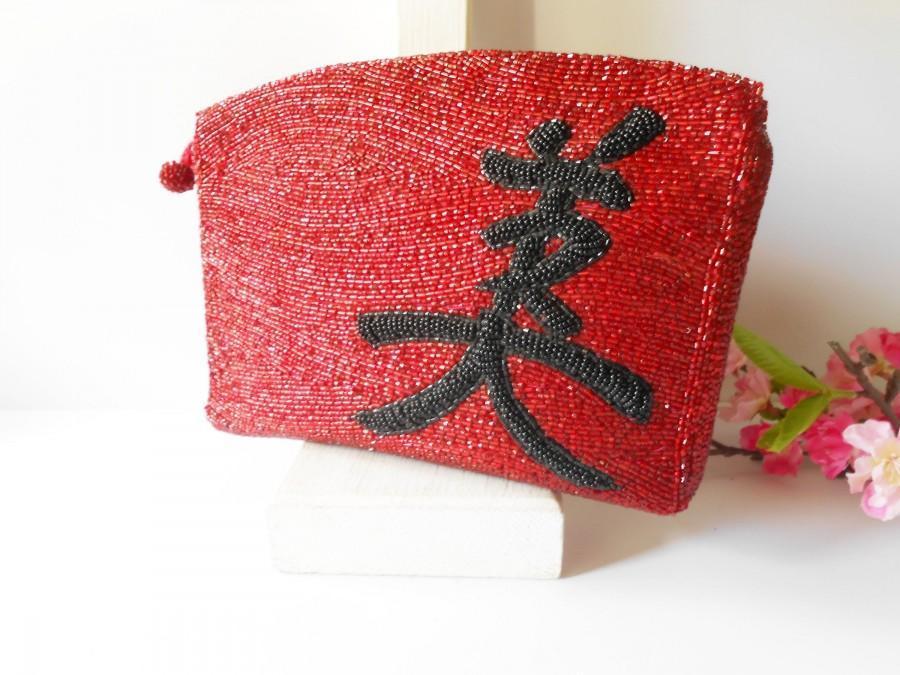 Hochzeit - Vintage Red Bead Clutch Bag, Red Black Evening Bag EB-0222