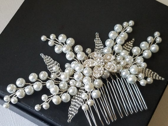 Wedding - Bridal Pearl Hair Comb, White Pearl Silver Headpiece, Pearl Floral Hairpiece, Wedding Hair Jewelry, Bridal Hair Accessories Pearl Hair Piece