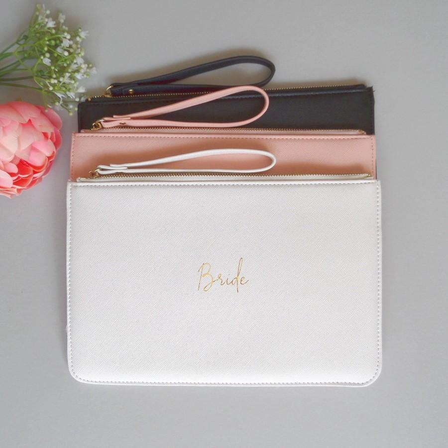Hochzeit - Personalised Bride Clutch Bag, Wedding Clutch, Bridesmaid Clutch, Bridesmaid Proposal Gift, Bride Purse, Gold, Wrist Strap, Wristlet