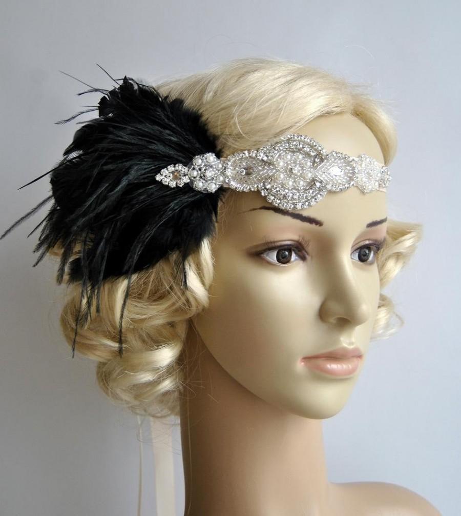 Свадьба - Rhinestone flapper Gatsby Headband, Wedding Headband, Crystal Headband, Wedding Headpiece, Halo Bridal Headpiece, 1920s Flapper headband