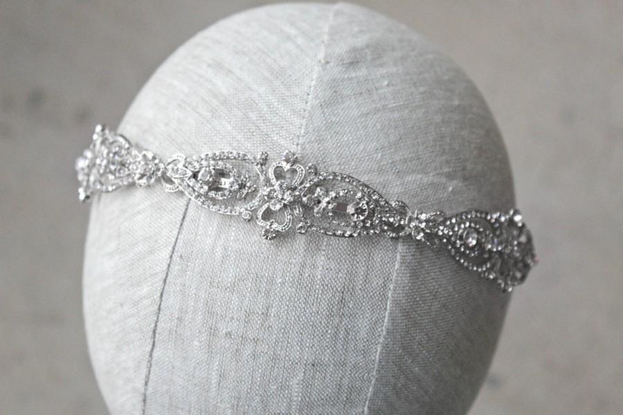 Свадьба - Headband Bridal Tiara Wedding Headband MERCY Swarovski Bridal Tiara Crystal Wedding Headband, Rhinestone Tiara Wedding Tiara, Diamante Crown