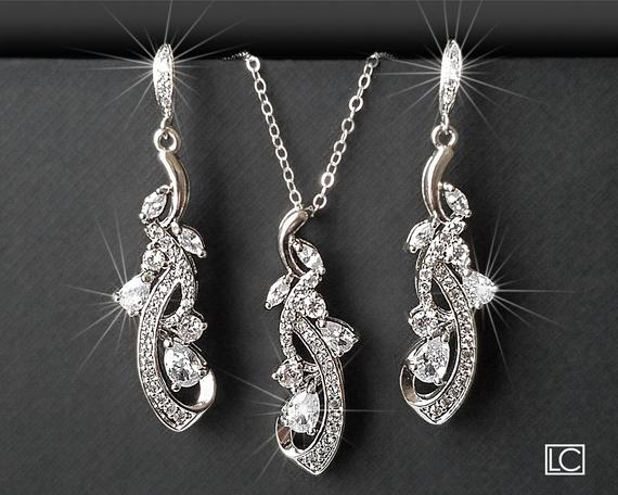 Wedding - Bridal Jewelry Set, Wedding Floral Earrings&Necklace Set, Chandelier Earrings Pendant Set, Bridal CZ Silver Jewelry, Bridal Party Gift