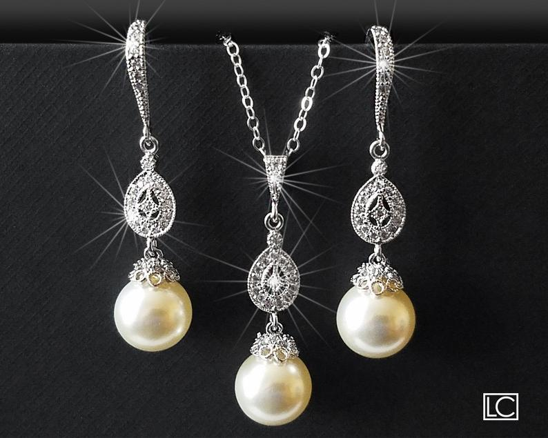 Wedding - Pearl Bridal Earrings&Necklace Set, Swarovski Ivory Pearl Silver Set, Ivory Pearl Wedding Jewelry, Bridal Jewelry Sets, Bridal Party Gift