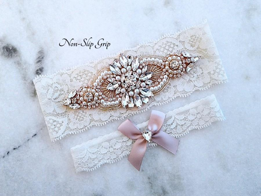زفاف - Ivory and Rose Gold Wedding Garter, Ivory Stretch Lace Bridal Garters, Crystal Rhinestone Garter Set, Ivory Wedding Garter, 9 Lace Colors