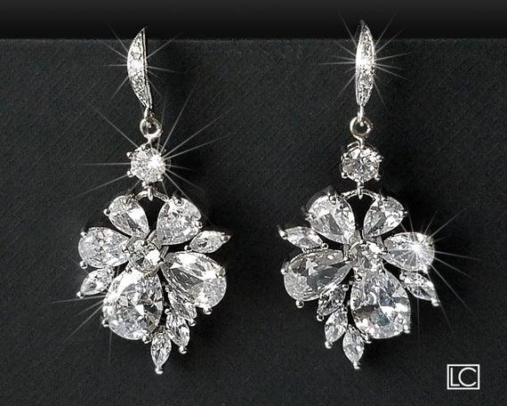 Wedding - Crystal Bridal Earrings, Cubic Zirconia Chandelier Earrings, Sparkly Floral Crystal Earrings, Wedding Jewelry, Bridal Statement Earrings