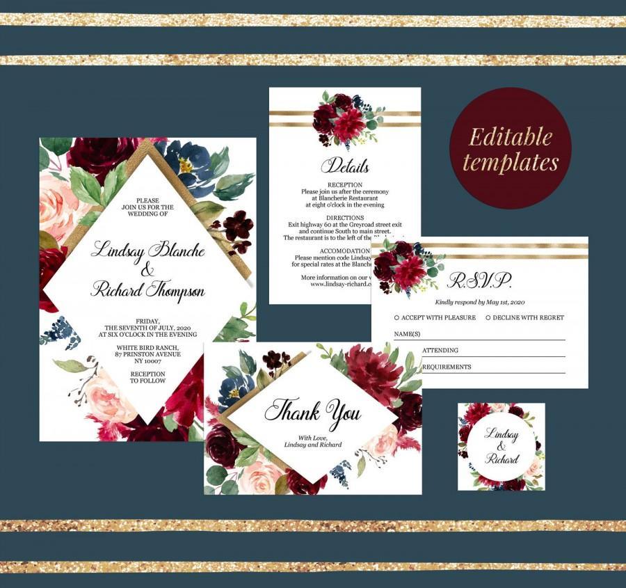 Bird Wedding Suite Editable Bird Invitation Printable DIY Wedding Invitation Instant Download Bird Wedding Invitation Template