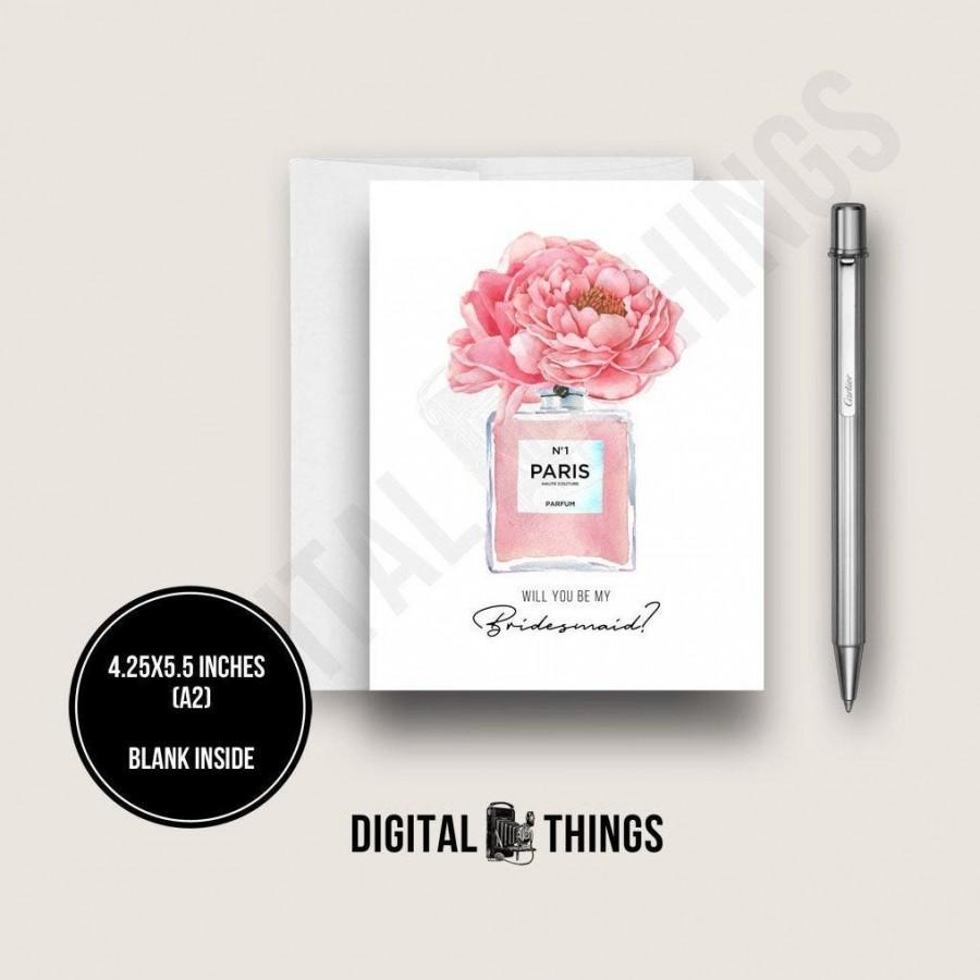 Hochzeit - Bridesmaid Proposal Card. Will You Be My Bridesmaid Card. French Perfume Bottle with Pink Peonies Flowers Card. Fashion Card. DT2246
