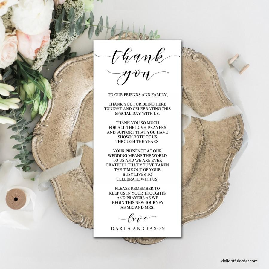 Wedding - Editable Thank You Place Cards, Elegant, Modern Design, Printable Template, DIY Wedding, PDF, Instant Download - Editable Printable File