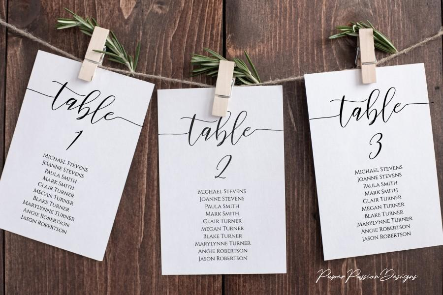 Mariage - Wedding Seating Table Cards, Poster, Elegant Calligraphy Display 100% Editable Template, Templett PPW0550