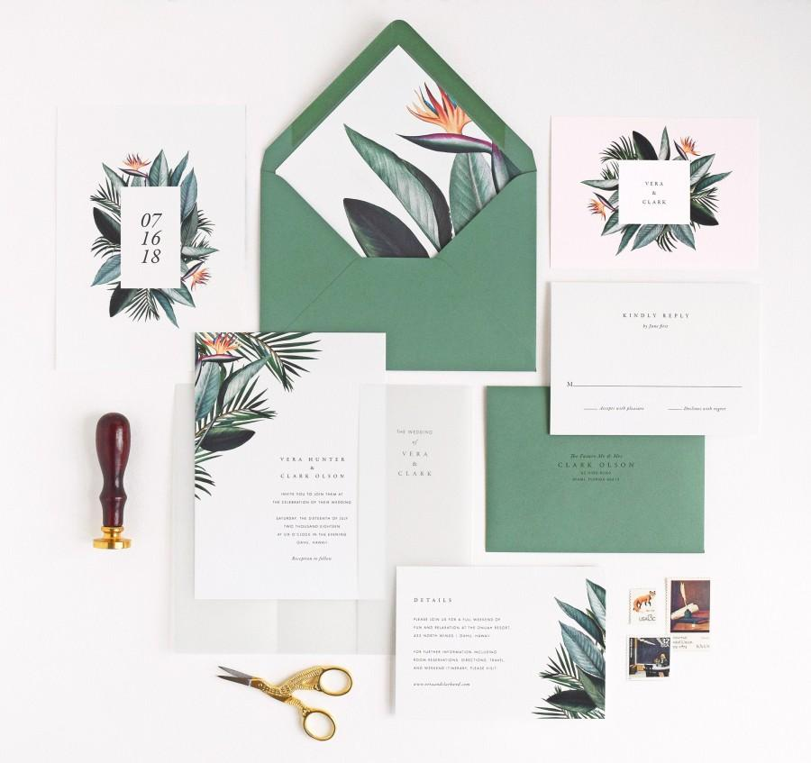 Hochzeit - Vera Wedding Invitation & Correspondence Set / Romantic Modern Tropical Birds of Paradise and Palm Leaves / Sample Set