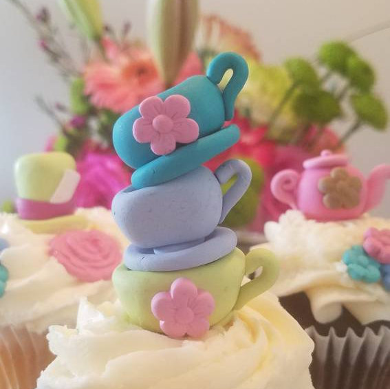 Wedding - Mad Tea Party Cupcake Toppers, Cake Toppers - set of 6 includes tea pots, stacked tea cups, top hats, and flowers