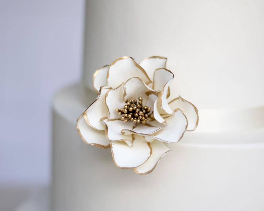 Hochzeit - White and Gold Open Rose Sugar Flower with Gold Edging - Wedding Cake Topper - READY TO SHIP