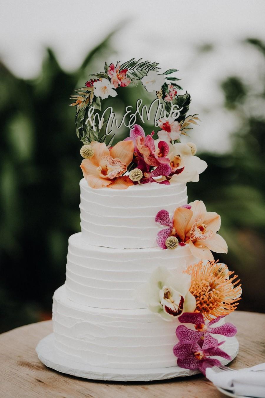 Wedding - Tropical Wedding Cake Topper Floral Wreath Mr & Mrs Colorful Wooden Cake Decoration Wedding Decor Beach Destination Wedding (Item - TRM840)