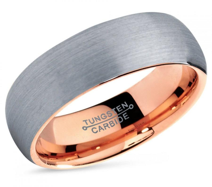 Wedding - Rose Gold Tungsten Ring, Gold Tungsten Wedding Band,Silver Tungsten Ring,Men & Women,Tungsten Carbide Ring,Anniversary Ring Brush