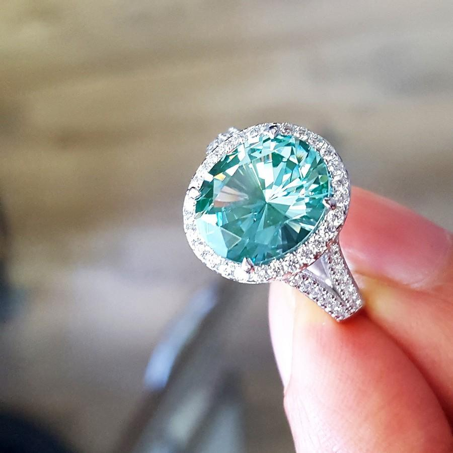 Wedding - Customizable Women Sterling Silver Oval 5 carat Simulated Green Topaz CZ Halo Cocktail Ring 14.5MM(HCHB13R0097A)