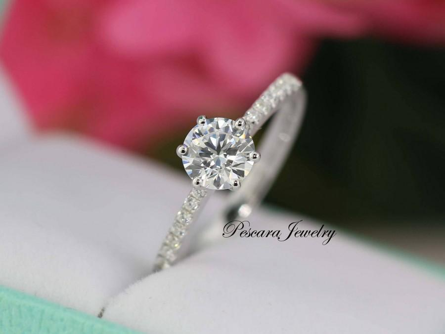 Wedding - 1.0 ctw  Solitaire Engagement Ring, 6 prong ring, round Cut Wedding Ring, Round Promise ring, small ring (size 3.5~9)