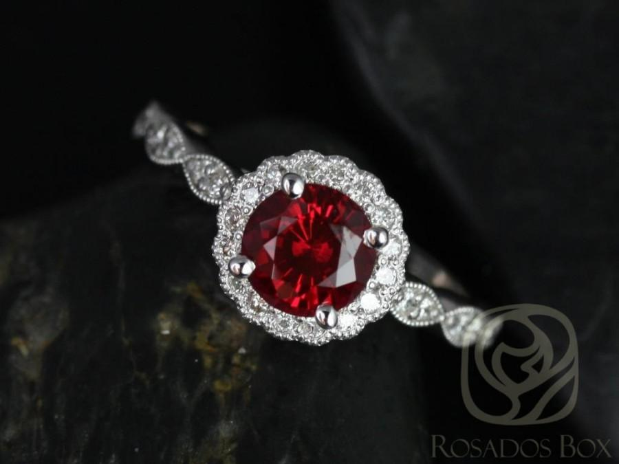 Свадьба - Rosados Box Sunny 6mm 14kt White Gold Crimson Ruby & Diamond Flower Halo WITH Milgrain Engagement Ring