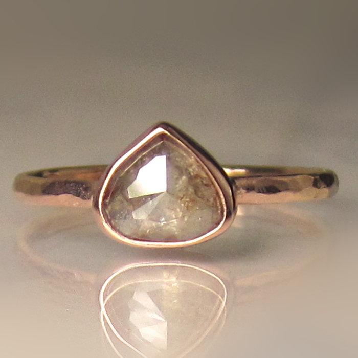 Wedding - Rose Cut Diamond Engagement Ring, 14k Rose Gold Rough Cut Diamond Ring, Rose Cut Teardrop Ring