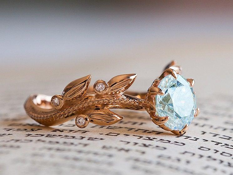 Wedding - Aquamarine Engagement Ring, Alternative Engagement Ring, Victorian Engagement Ring, Rose Gold 14K Ring, 18K, Art Nouveau, Nature Inspired
