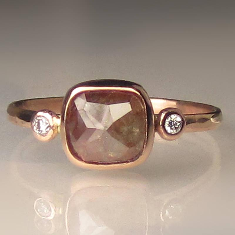 Hochzeit - One of a Kind Rose Cut Diamond Engagement Ring, 14k Rose Gold Diamond Ring, Hammered Rose Cut Diamond Engagement Ring