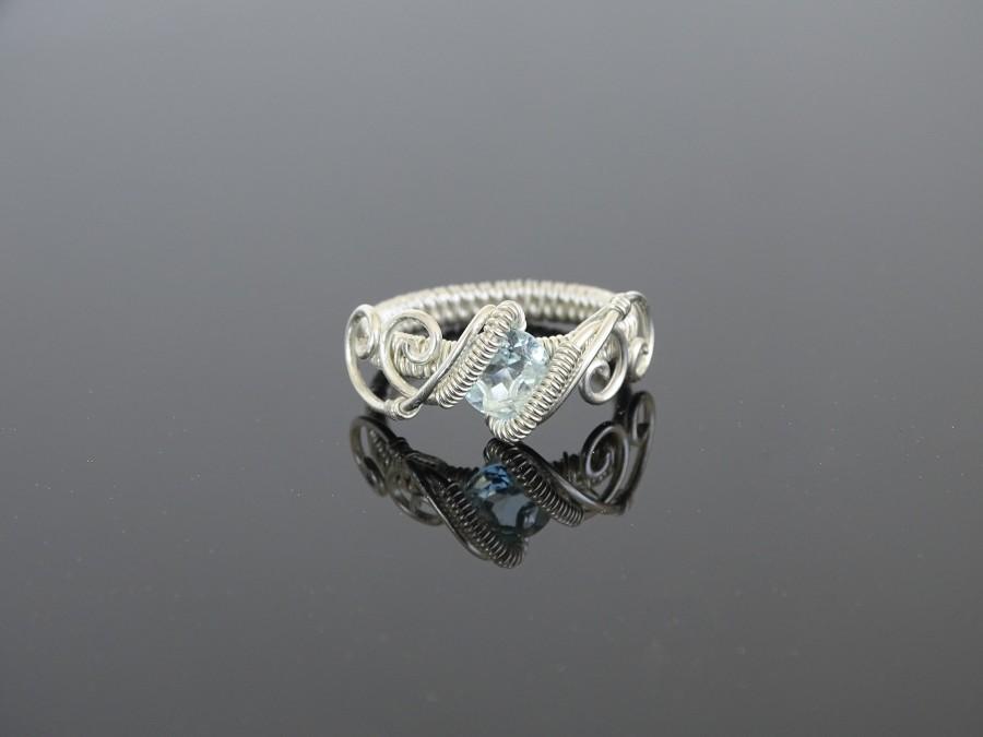 Wedding - Topaz sterling silver wire ring. Wire wrapped ring, Topaz ring, Topaz jewelry, wire wrapped jewelry, sterling silver ring, unique ring,elven