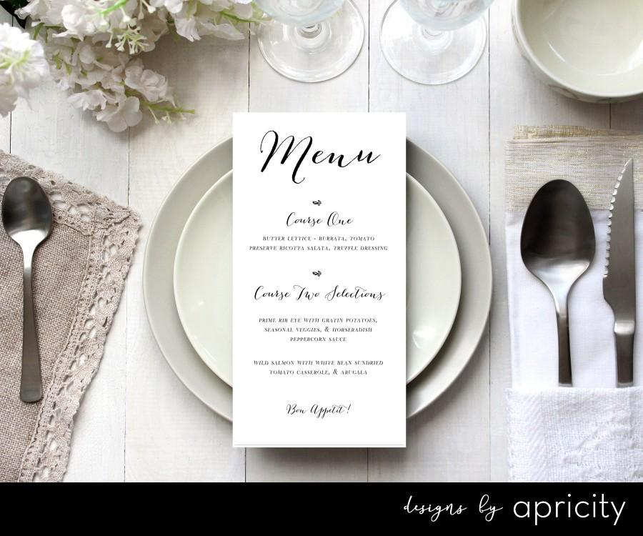 زفاف - Wedding Dinner Menu//DIY Printable//Custom Dinner Menu//Wedding Table Decor