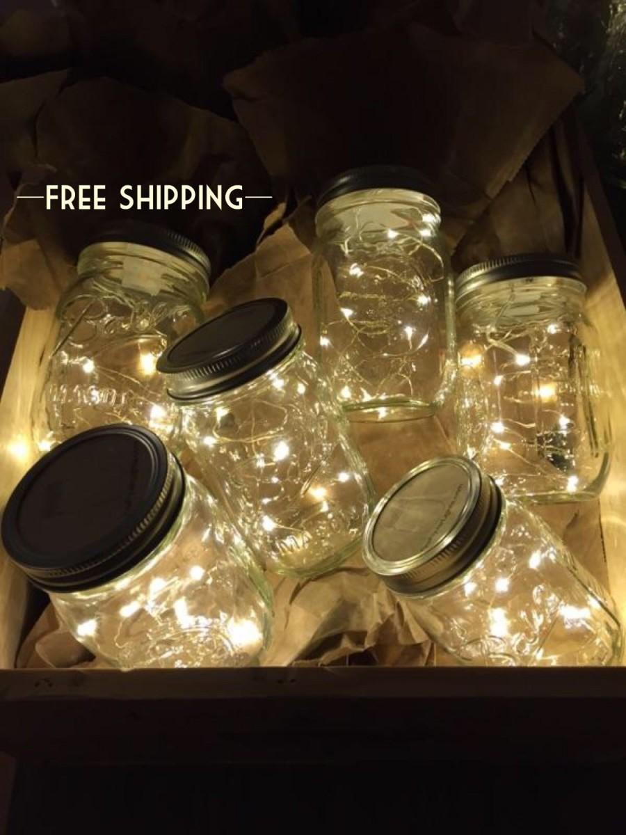 زفاف - Firefly Lights and Mason Jar, Outdoor Lightning, rustic, Fairy Lights, Mason Jar Lights, String Lights, Wedding Lights, Wedding Centerpiece