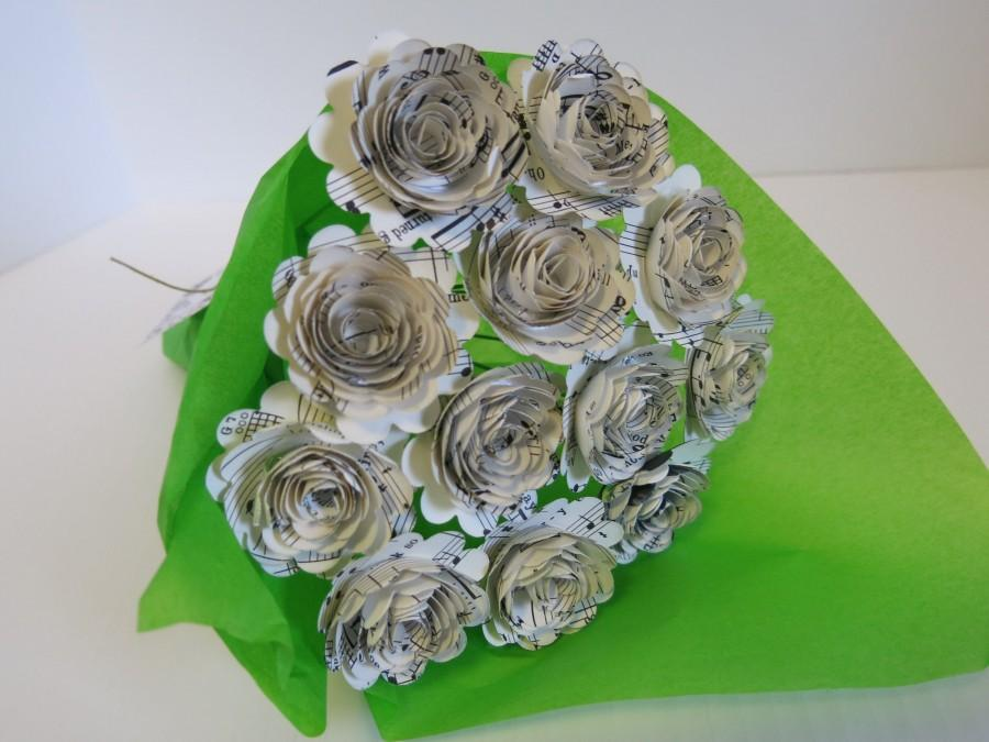 "Wedding - s Sheet Music Paper Flowers for Centerpiece, Musical Theme Party Decorations, One Dozen 1.5"" Roses with Stems, Music Class Teacher Gift"