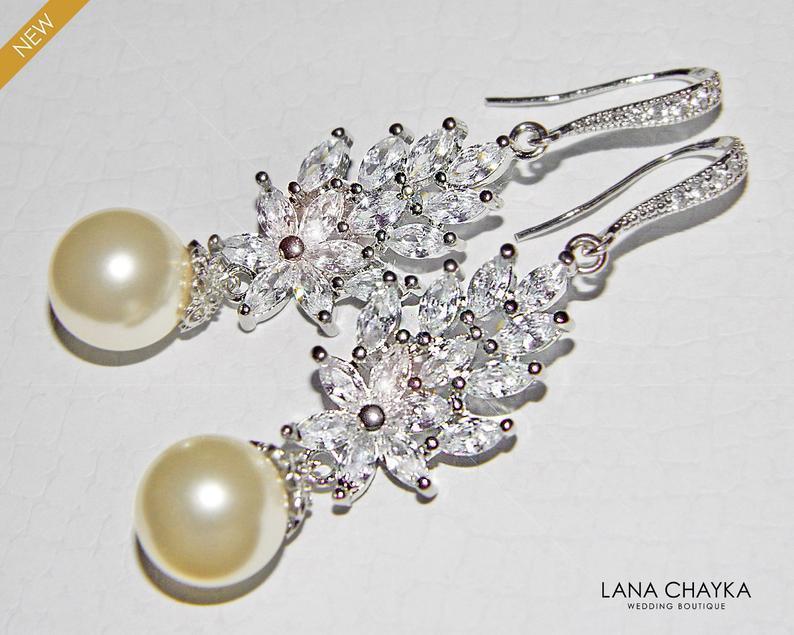 Hochzeit - Bridal Pearl Chandelier Earrings, Cluster Crystal Wedding Earrings, Swarovski Ivory Pearl Silver Earrings, Bridal Jewelry, Statement Earring
