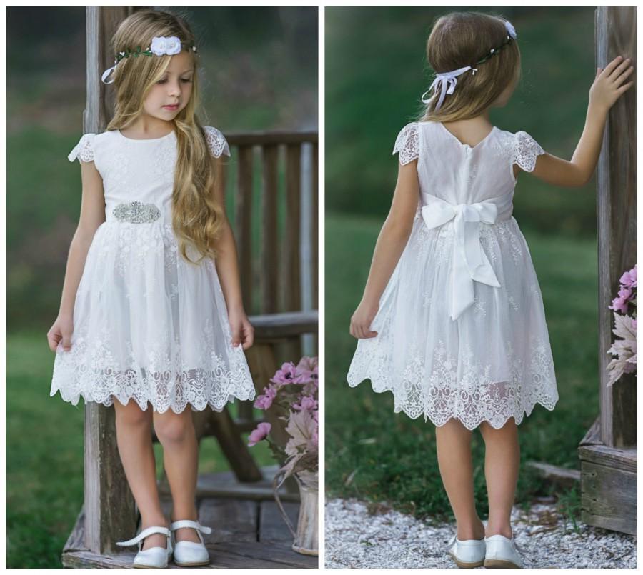 Hochzeit - White Flower Girl dress, rustic flower girls dresses, baptism dress, White lace dress, baby girl dress, Christening dress, Communion Dress.