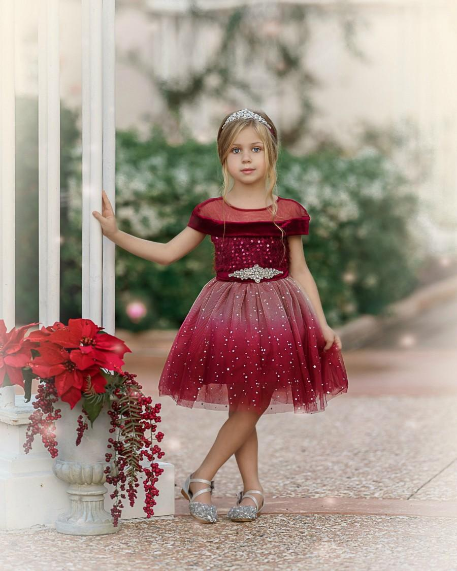 Wedding - Red Flower Girl Dress, Girls Christmas Dress, Christmas Tutu Dress, Baby Toddler Christmas dress, Girls dresses, Holiday Dress