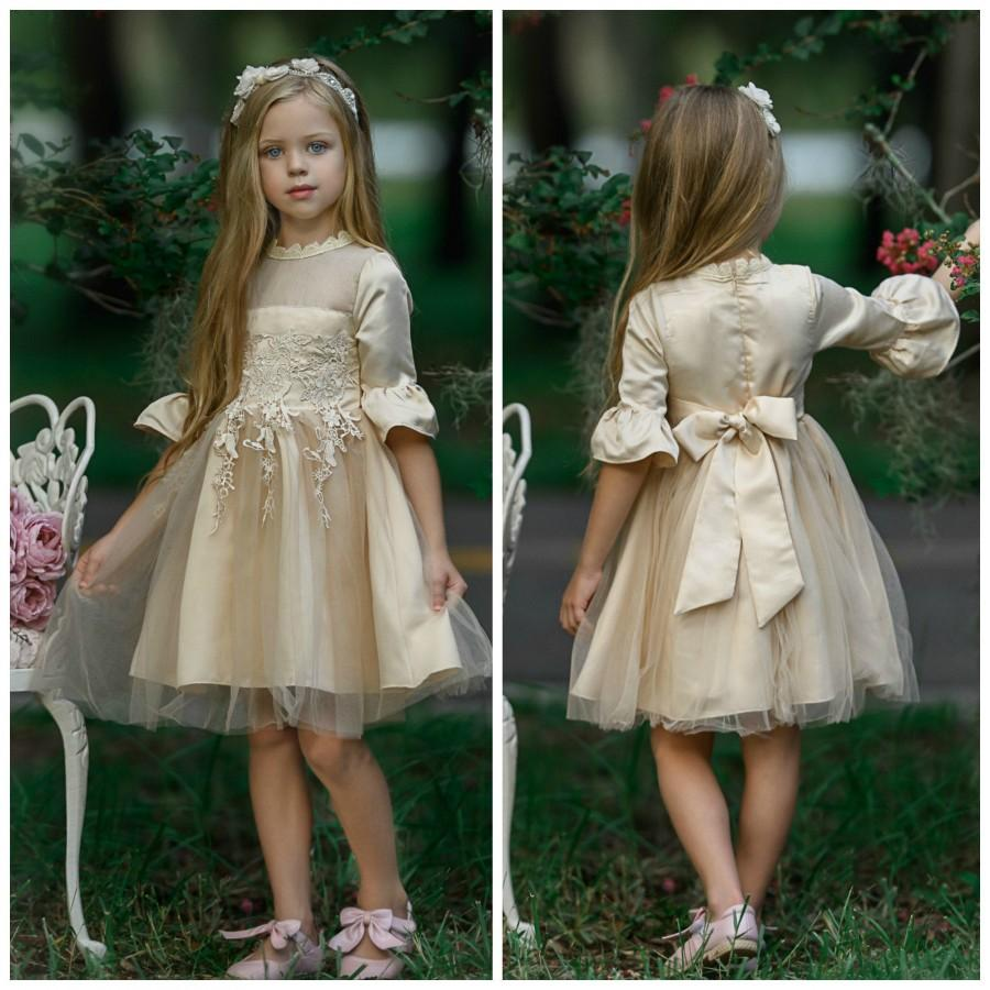 Wedding - Lace Flower girl dress, Champagne Flower girl dresses, Rustic flower girl dress,long sleeve girls dress, tulle flower girl dress, baby dress
