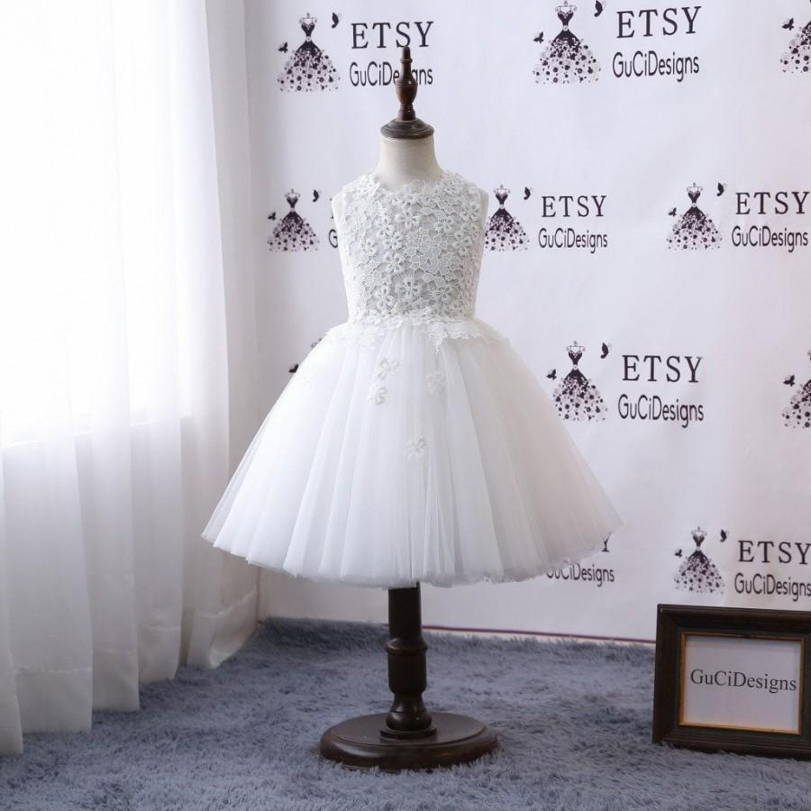 Wedding - 2018 Lace Flower Girl Dresses For Weddings Long White Tulle Skirt Beautiful Lace Top Girls Tutu Skirt Kids First Communion Dress Mid-Calf