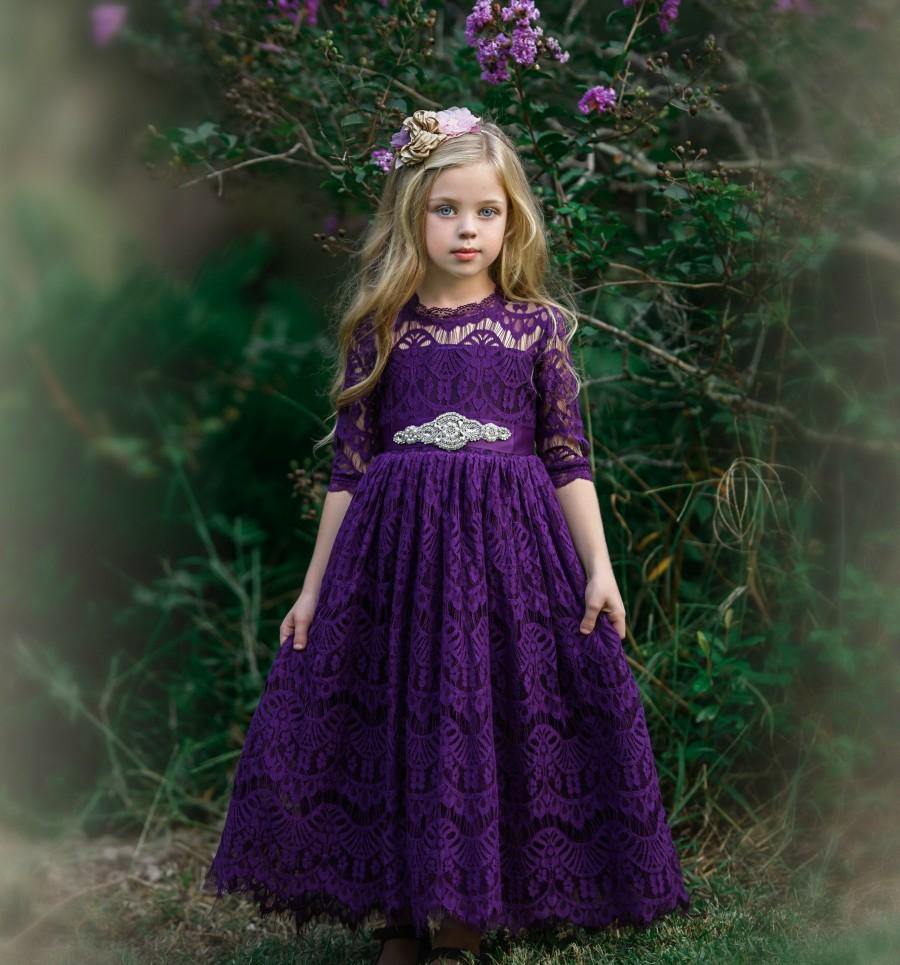 Mariage - Purple Lace Flower girl dress, Bohemian Flower girl dresses, Eggplant rustic flower girl dress , Plum country flower girl dress, long sleeve