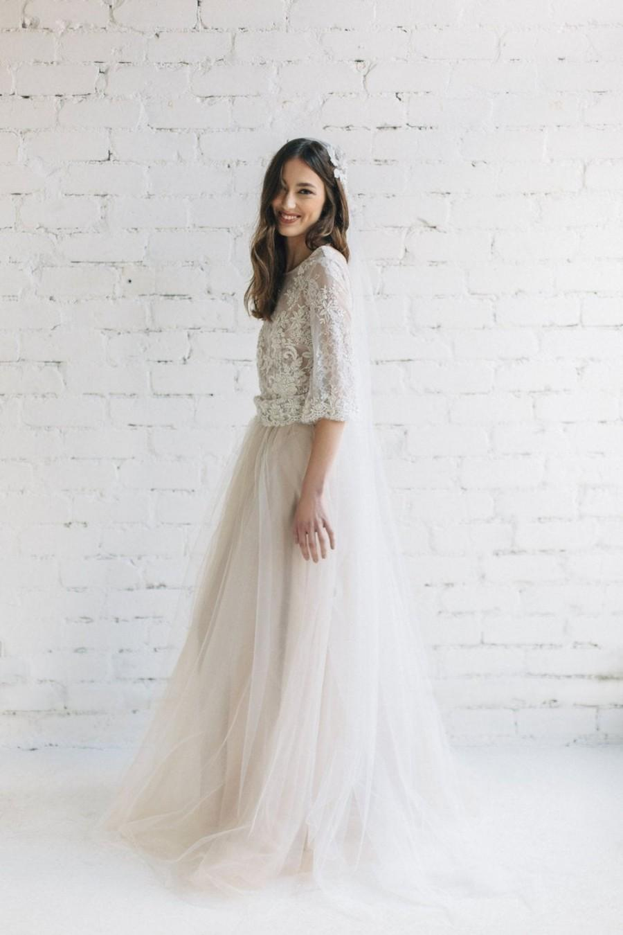 Hochzeit - Tulle Wedding Skirt - PEONY / Bridal Tulle Skirt with Train / Nude Wedding Skirt / Lightweight Tulle Skirt / Maxi Bridal Skirt