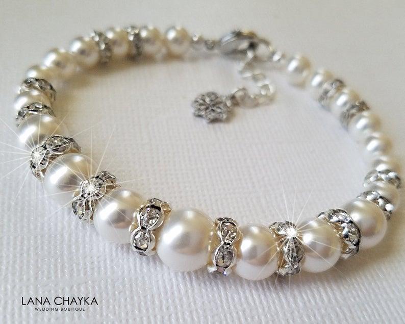Hochzeit - White Pearl Bridal Bracelet, Swarovski Pearl Silver Bracelet, Wedding Pearl One Strand Bracelet, White Pearl Jewelry Bridal Classic Bracelet