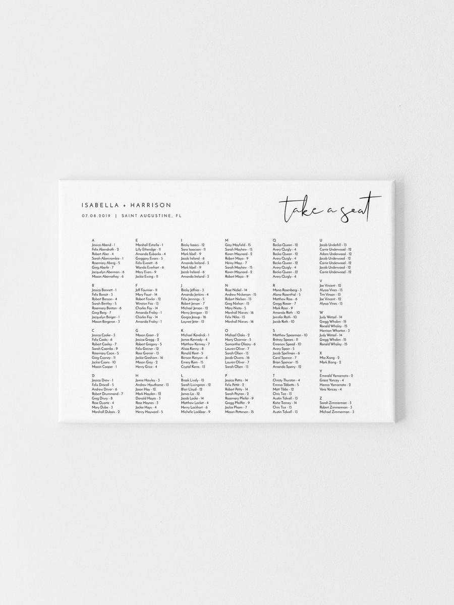 زفاف - Adella - Minimalist Wedding Seating Chart Template, Alphabetical Seating Chart Wedding, Seating Chart Board, Editable Templett Seating Chart