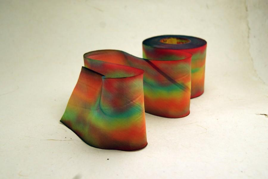 Wedding - Hand Dyed Silk Ribbon 2.5 inch 62mm Blend 023 3 yard Bias Cut Orange Red Green Autumn Variegated