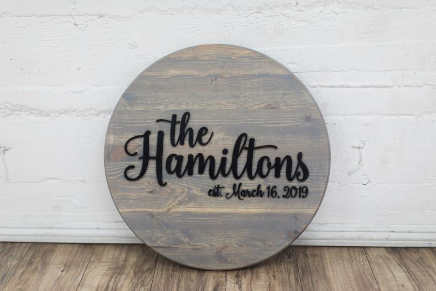 Mariage - Family Name Sign, Round Name Sign, Custom Name Sign, Wedding Guestbook Alternative, Round Family Name Sign, Family Name Sign Wood, Wood Sign