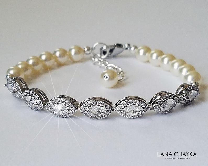 Hochzeit - Pearl Cubic Zirconia Bridal Bracelet, Wedding Pearl Marquise Bracelet, Swarovski Ivory Pearl Silver Bracelet, Dainty Bracelet Bridal Jewelry