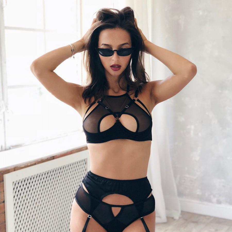 Wedding - lingerie erotic strappy cage see through shelf half cup open bra and mesh bikini panties black suspender belt langerie erotique see thru