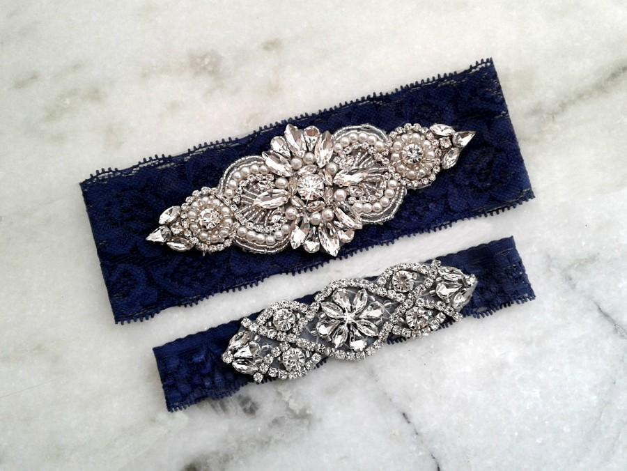 Свадьба - Navy Blue Wedding Garter, Silver Wedding Garters, Stretch Lace Bridal Garter, Crystal Rhinestone Garter, Something Blue Garter Set