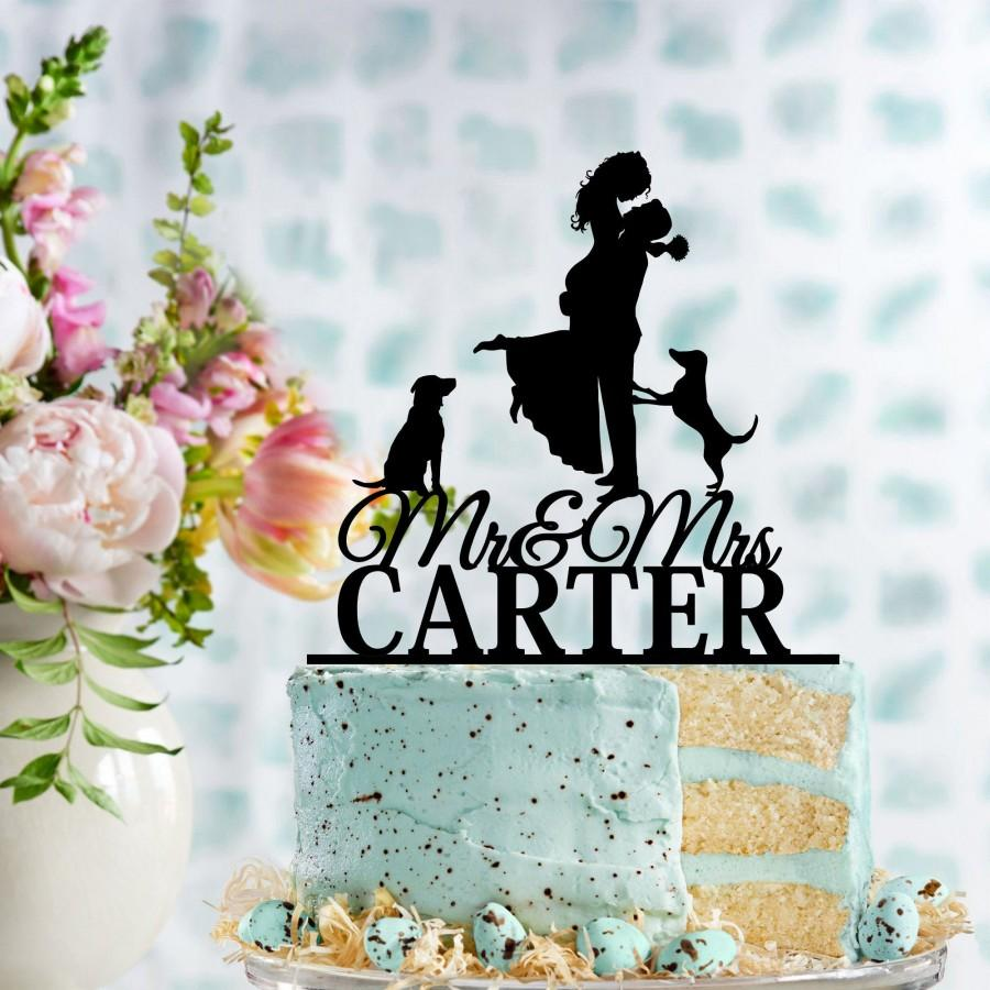Свадьба - Wedding Cake Topper with Dog, Personalised Last Name, Dog Wedding Cake Topper, Custom Dog Options, Acrylic Cake Topper