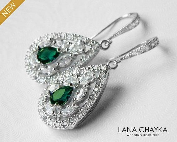 Hochzeit - Crystal Bridal Earrings, Cubic Zirconia Wedding Earrings, Teardrop Sparkly Earrings, Clear Emerald CZ Chandelier Earrings, Bridal Jewelry