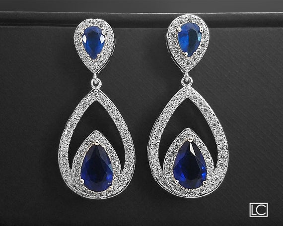 Hochzeit - Blue Crystal Bridal Earrings, Navy Blue Cubic Zirconia Earrings, Teardrop Wedding Earrings, Statement Earrings, Royal Blue Dangle Earrings