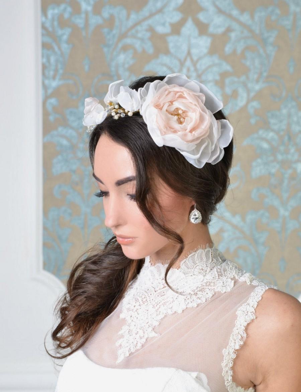 Hochzeit - MADISON Style 1617T Bridal flower headband, Wedding headpiece, Flower headpiece, Bridal headpiece, bridal tiara, wedding headpiece,