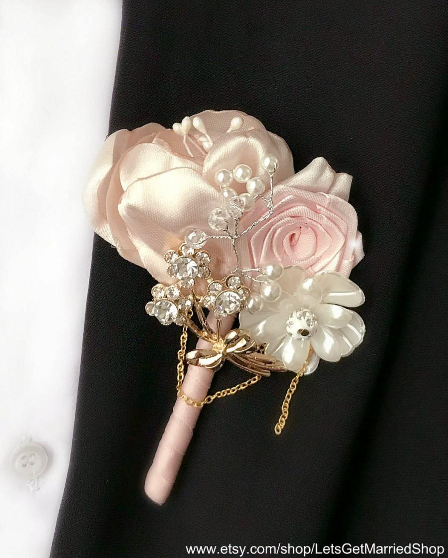 Mariage - Wedding Boutonniere Champagne Grooms Pin Blush Pink Ivory Rose Gold Jewelry Mens Buttonhole Fabric Silk Boutonniere Romantic Wedding