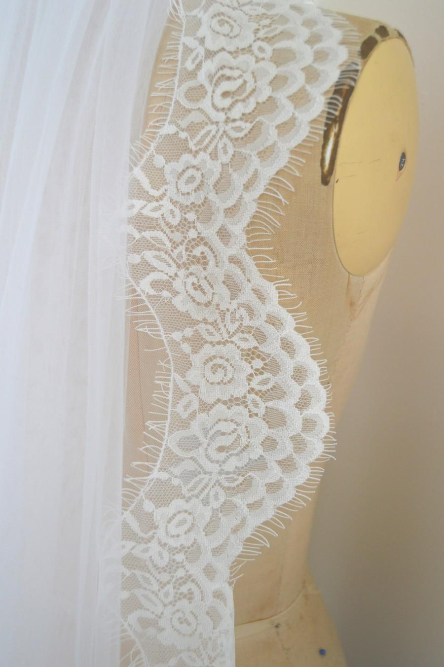 Wedding - Cathedral Length Wedding Veil 'Mia' - White Scalloped Eyelash Lace Edged Bridal Veil