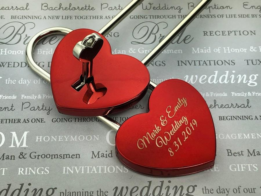 Свадьба - Love Lock, Heart Lock, Custom Lock, Personalized Heart Love Padlock With Key, Engraved Love Lock, Padlock, Engagement Gift, Locks of Love