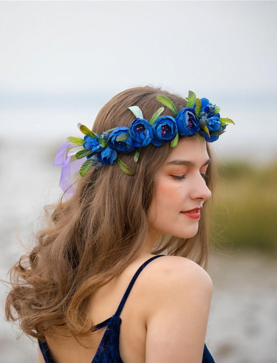 Hochzeit - Blue Navy flower crown adult Bridal headpiece Flower girl headband Wedding Bridal flower Crown Flower girl crown Flower girl headband